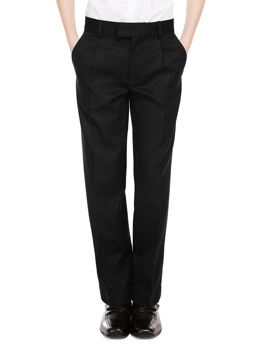 Age 2-16 Ex M&S Boys Regular Fit Black Charcoal Grey Navy School Trousers