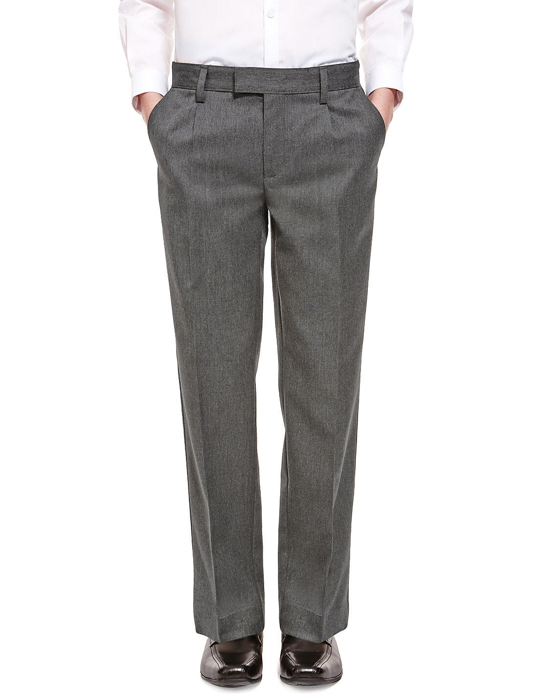 Ages yrs. Flat front trousers with half elastic waist and tailored waistband.