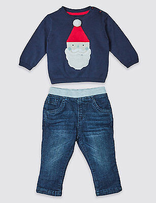 Baby First Christmas Outfit  Jumper Boys  Denim pants  2 peice Santa M & S blue