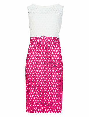 Marks & Spencer Collection Hot Pink & Ivory Daisy Cut-Out Colour Block Shift Dre](Cut Out Dres)