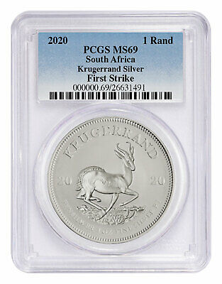 2020 South Africa 1 oz Silver Krugerrand R1 Coin PCGS MS69 FS PRESALE SKU60239