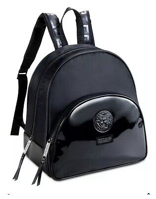 Versace Parfums Backpack Medusa Head Black Faux Patent Leather NWOT