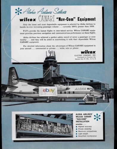 ALOHA AIRLINES 1960 FAIRCHILD F-27 PROP AT HONOLULU REEF ROAD TERMINAL WICOX AD