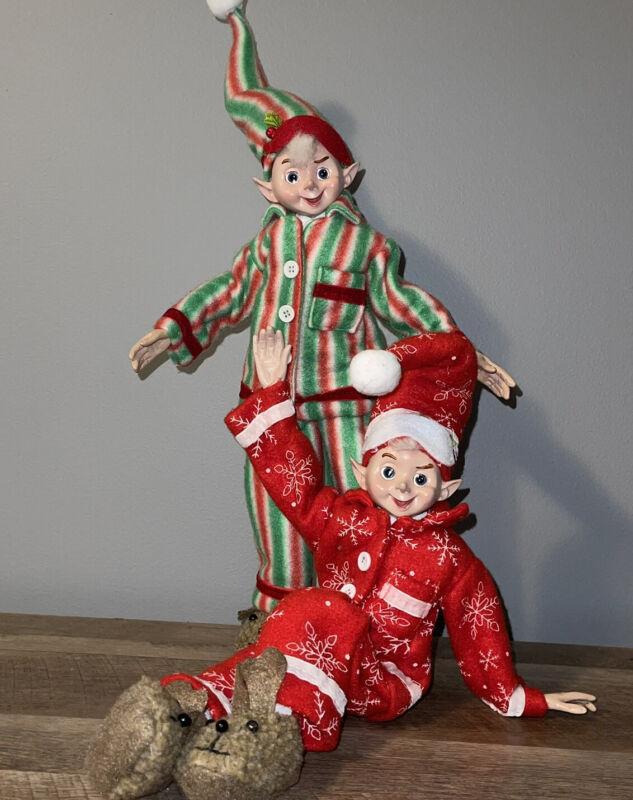 "RAZ Imports 19"" Posable Elves Elf Set/2 Pajama Red Green Christmas NEW!"