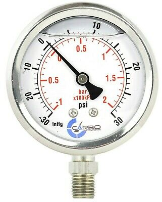 1-12 Vacuum Gauge Stainless Steel Case Liquid Filled Lower Mnt -30 Hg30 Psi