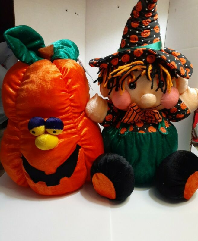 """Dan Dee Halloween plush lot - rare with tags!  Pumpkin and Witch 12"""" fast ship!"""