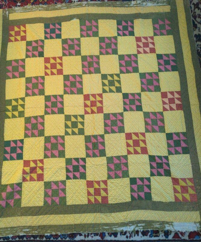 Antique American Patchwork Quilt Handstitched Cutter Restore Good Blocks