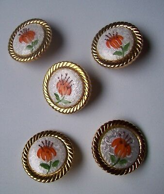 Vtg GUILLOCHE ENAMEL BUTTONS~gold plate setting-set of 5~Orange Lily flower