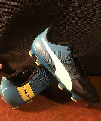 Puma EvoPower 4 Soccer Cleats Blue/Black Boys Youth Size 13.5