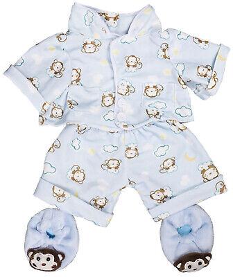 Monkey Teddy Bear (Blue Monkey Pajamas w/Slippers Teddy Bear Clothes Fits Most 8