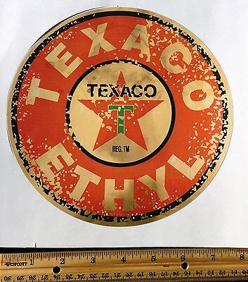 Texaco Ethyl Gasoline Decal-AGED--Gas Cans, Oil Cans, Rat Rods