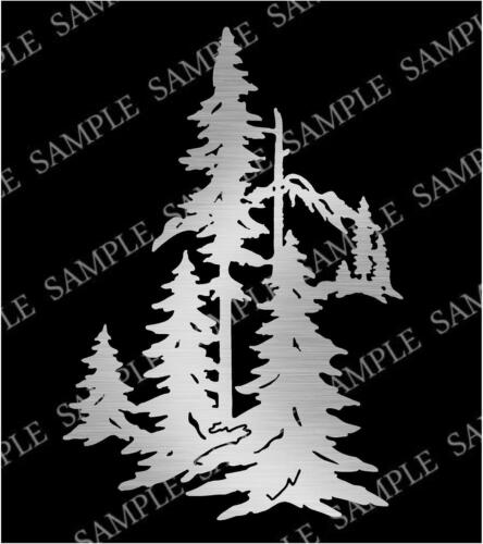 DXF CNC Plasma Laser Cut Ready Vector Pine Trees Mountains Outdoor Scene