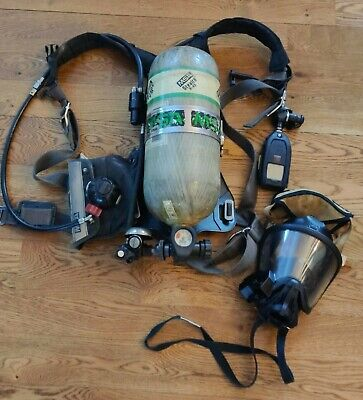 Scba Mask Bottle And Msa Firehawk Pack Firefighter Msa Scott Avon Protection