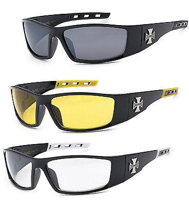 3 PAIR COMBO Chopper Sunglasses Motorcycle Glasses Smoke Yellow & Clear Lens (C50 Sunglasses)