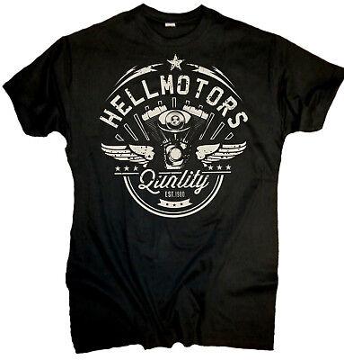 Herren Motorrad Biker T-Shirt V-Twin Rocker Skull Tattoo Motiv King  bis 5XL
