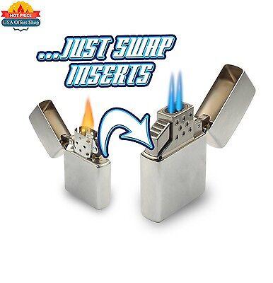 Z-Plus Insert Zippo Lighters Blazer Butane Dual Torch Flame White / Silver New