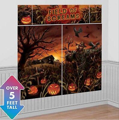 Halloween Haunted Cornfield Field of Screams Scene Setter Scarecrow Wall Decor  - Haunted Field Of Screams