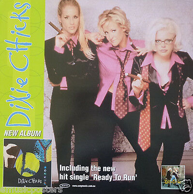 """DIXIE CHICKS """"READY TO RUN"""" AUSTRALIAN PROMO POSTER - Country, Bluegrass Music"""