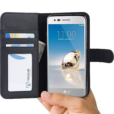 Black Cover Wallet Case for LG Aristo, K8 2017, Fortune, LV3, Phoenix 3 Phone