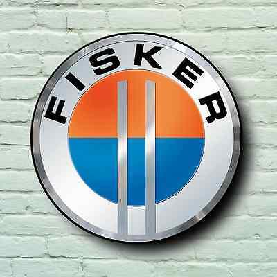 FISKER BADGE LOGO 2FT GARAGE SIGN WALL PLAQUE USA ELECTRIC CAR KARMA