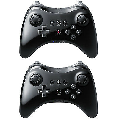 2 Black High Quality U Pro Bluetooth Wireless Controller for Nintendo Wii U for sale  Shipping to India