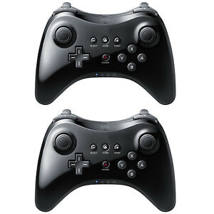 2 Black High Quality U Pro Bluetooth Wireless Controller for Nintendo Wii U