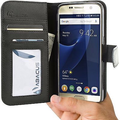Black PU Wallet Flip Cover Case for Samsung Galaxy S7 Phone
