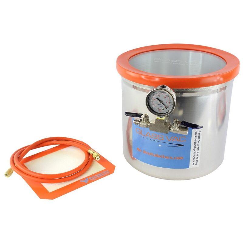 3 Gallon Aluminum GlassVac Vacuum & Degassing Chamber for Wood Stabilization