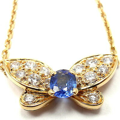 Authentic! VAN CLEEF &ARPELS 18k Yellow Gold Diamond Sapphire Butterfly Necklace