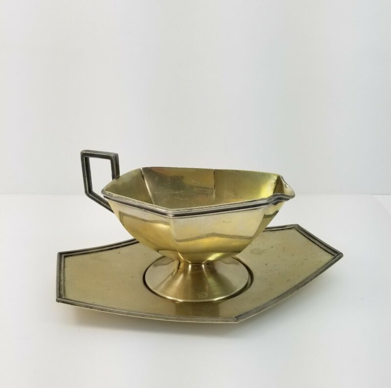 Vintage Apollo Sheffield Footed Gravy Boat with Tray B.R.S. Nickel Silver #3227