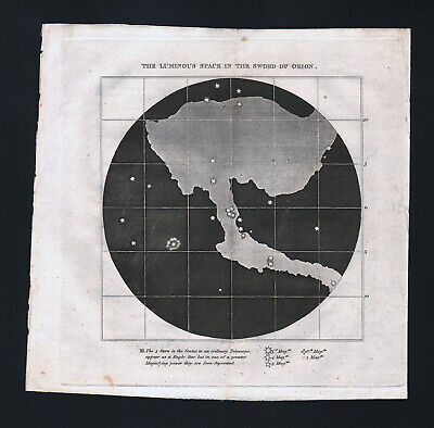 1809 Astronomy Map Luminous Star Cluster in the Sword of Orion Telescope Antique