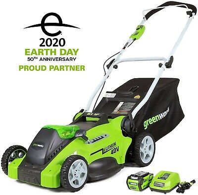 Greenworks 16-Inch 40V Cordless Lawn Mower, 4.0 AH Battery Included...