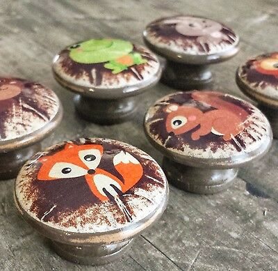 6 Distressed Woodland Animal Wood Knobs, 1.5