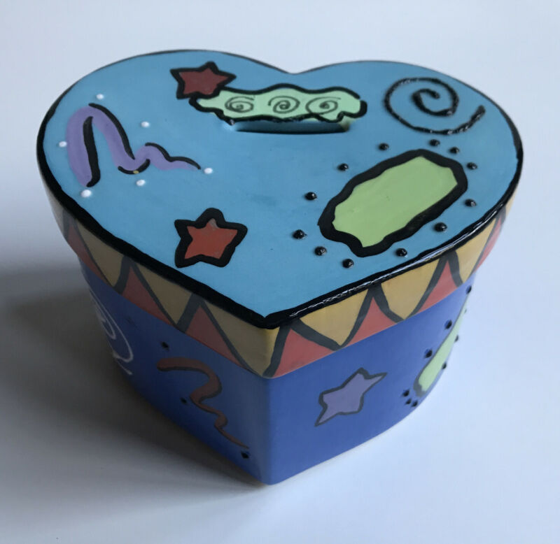 Heart Shaped Brightly Colored Tzedakah Box or Piggy Bank  Rosen/Horowitz Pottery