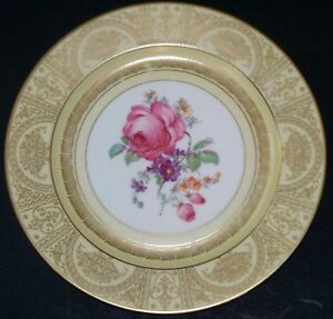 Tirschenreuth-PT-Bavaria-Plate-Charger-with-Roses-Gold-Stencil-Designs-10-75