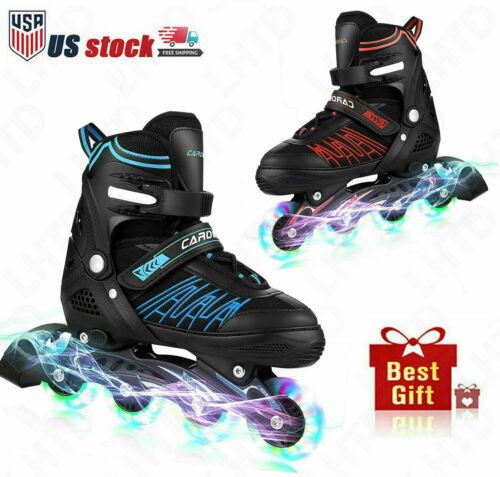 Adjustable Inline Skates w/ LED Wheels Outdoor Roller Skates for Kids Women Men