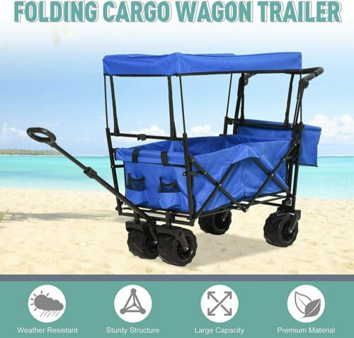 Collapsible Outdoor Utility Wagon All-Terrain Folding Cart W