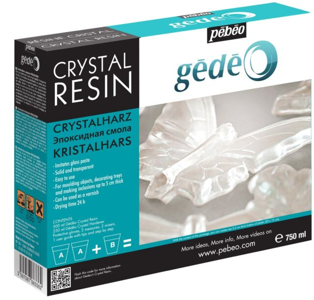 Pebeo Gedeo Crystal Transparent Resin 750ml Kit Set - Moulding, Jewellery Making