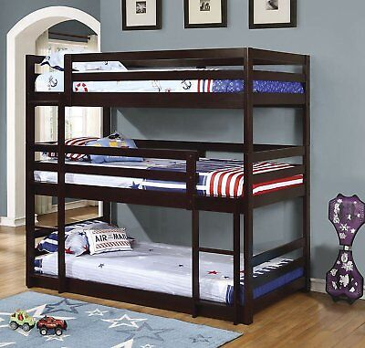 $518.89 - Coaster Home 400302 Triple Twin Bunk Bed, Built-In Ladder in Cappuccino Finish