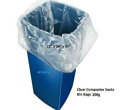 100 x Clear Compactor Sacks Bin Liners Refuse Heavy Duty Rubbish Waste Bags 200g