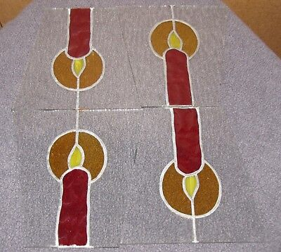 4 Sheets Stained Glass Holiday Christmas Candle for an Outdoor Light Lamp Post
