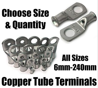 Copper Tube Terminals Battery Welding Cable Lug Ring Crimp Eyelets 6mm² - 240mm²