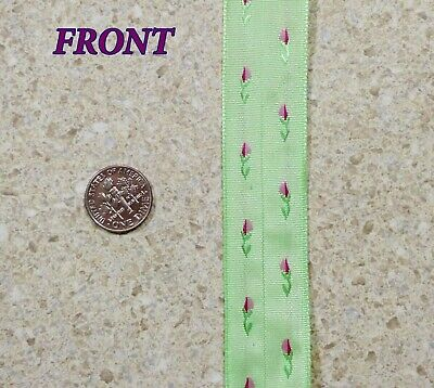 Mint Green Pink Rose Bud Woven 7/8