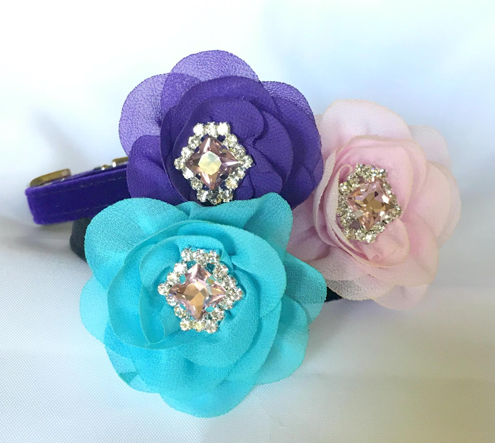 Topaz & Silk Flower Bling Purple Choice Aqua Pink Girl Dog C