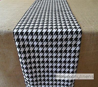 Black and White Table Runner Houndstooth Table Centerpiece Retro Home Decor