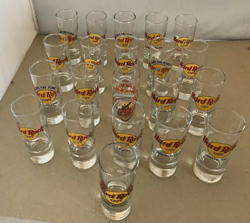 """Hard Rock Cafe Shot Glass Lot of 21 Tall 4"""" Glasses United States Mexico London"""