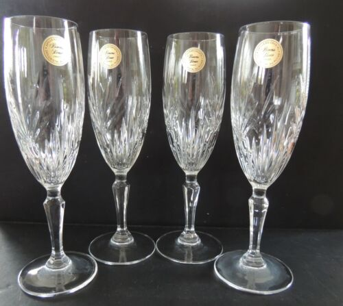 4 Princess House Highlights (Plain) Champagne Flutes New with Foil Labels