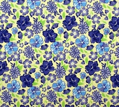 Violet Blue Yellow Calico Floral Cotton Quilt Fabric RED International (Violet Yellow)