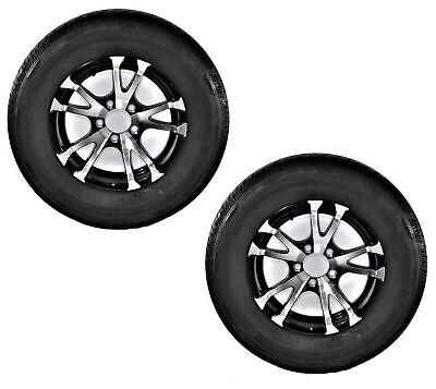 2-Pk Eco Trailer Tire Rim ST175/80D13 Load C 5 Lug Aluminum T07 Blk Spoke covid 19 (Spoke Aluminum Trailer Tire coronavirus)