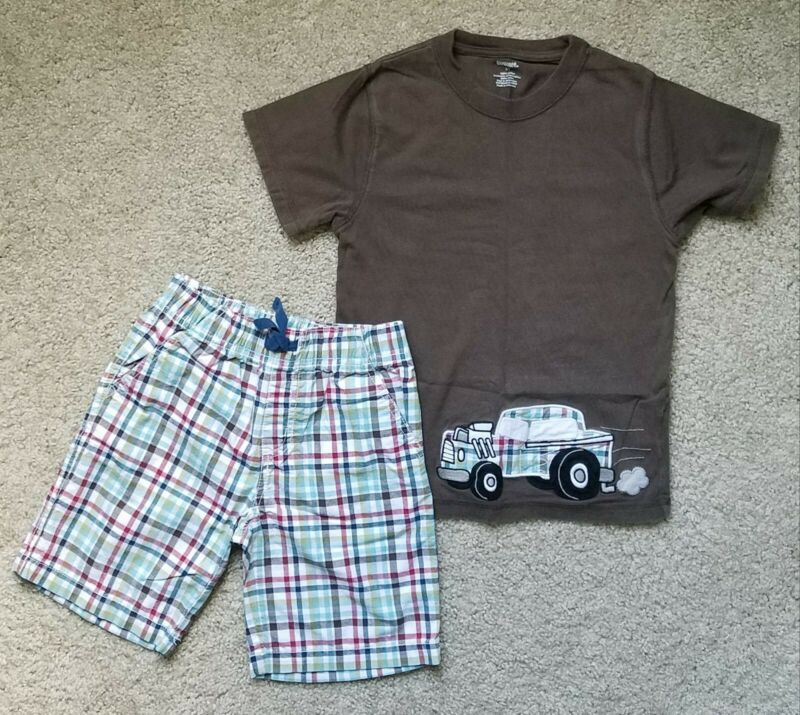 GYMBOREE Boys Sz 5T Race Car Tee & Plaid Shorts ~
